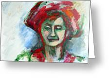 Woman With A Hat - Anne Iv Greeting Card