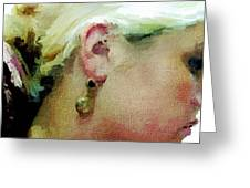 Woman With Antique Earrings Greeting Card