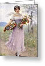 Woman With Flowers Greeting Card