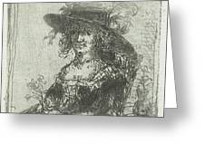 Woman With Hat, Print Maker Jan Chalon Greeting Card