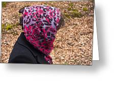 Woman With Headscarf In The Forest - Quirky And Surreal Greeting Card
