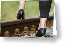 Woman With High Heels Shoes Greeting Card