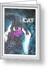Woman With Magenta Cat Greeting Card by Eve Riser Roberts