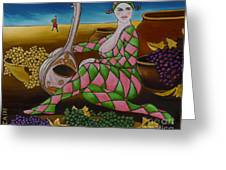 Woman With Mandolin Greeting Card