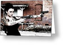Woman With Pistols Greeting Card by Rob Byron