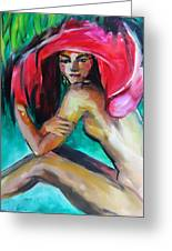 Woman With Red Hat Greeting Card by Nelya Shenklyarska