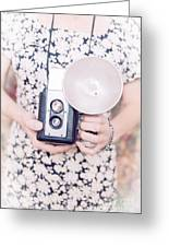 Woman With Vintage Camera Greeting Card