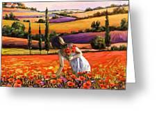 Women Gathering Poppies In Tuscan Greeting Card