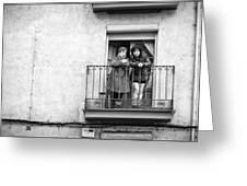 Women In Balcony Greeting Card