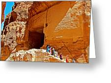 Women Leaving A Storage Place Near The Treasury In Petra-jordan Greeting Card