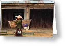 Women Market Walking On Street Greeting Card