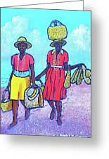 Women On Beach At Grenada Greeting Card