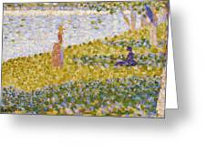 Women On The River Bank Greeting Card by Georges Pierre Seurat