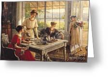 Women Taking Tea Greeting Card