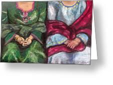 Women Wearing Shawls II Greeting Card