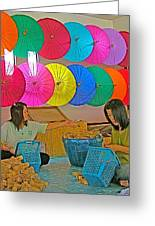 Women Working Together At Borsang Umbrella And Paper Factory In Chiang Mai-thailand Greeting Card