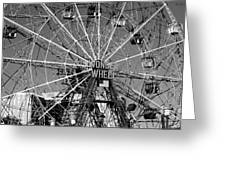 Wonder Wheel Of Coney Island In Black And White Greeting Card