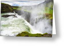 Wonderful Waterfall Gullfoss In South Iceland Greeting Card