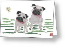 Pug Art Hand-torn Newspaper Collage Art By Keiko Suzuki Bless Hue Greeting Card