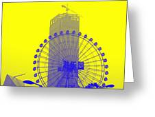 Wonderwheel In Blue And Yellow Greeting Card