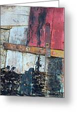 Wood And Metal Abstract Greeting Card by Jill Battaglia