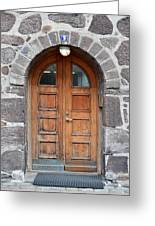 Wood Arch Door Iceland Greeting Card