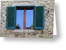 Wood Brown Window With Green Shutters Of Tuscany Greeting Card