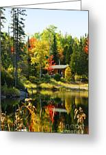 Wood Cabin By The Lake Greeting Card