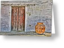 Wood Door And Clay Pot By Diana Sainz Greeting Card