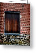 Wood Window Brick Wall Greeting Card