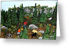 Woodcutters And Black Lab Greeting Card