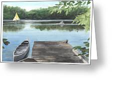 Wooded Lake Watercolor Portrait Greeting Card