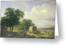 Wooded Landscape With Haymakers Greeting Card