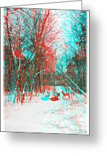 Wooded Path - Use Red And Cyan Filtered 3d Glasses Greeting Card