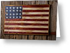 Wooden American Flag On Wood Wall Greeting Card
