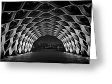 Wooden Archway With Chicago Skyline In Black And White Greeting Card