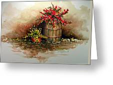 Wooden Barrel With Flowers Greeting Card
