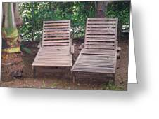Wooden Beach Chairs Greeting Card