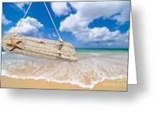 Wooden Beach Sign Algarve Portugal Greeting Card by Amanda Elwell