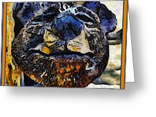 Wooden Bear Sculpture Greeting Card by Barbara Snyder