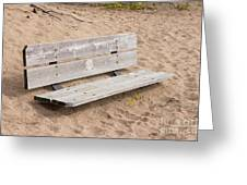 Wooden Bench Burried In The Sand Greeting Card