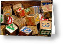 Wooden Blocks With Alphabet Letters Greeting Card by Amy Cicconi