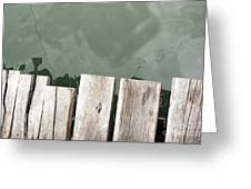 Wooden Board Against Sea Surface Greeting Card