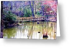 Wooden Bridge Over Pond Greeting Card