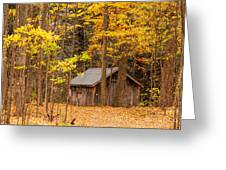 Wooden Cabin In Autumn Greeting Card