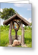 wooden shrine of holy Mother in Poland  Greeting Card