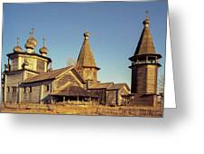 Wooden Church Complex. Old Film Camera. Greeting Card