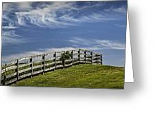 Wooden Farm Fence On Crest Of A Hill Greeting Card