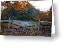 Wooden Fence In Autumn Greeting Card