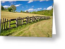 Wooden Fence In Green Landscape Greeting Card
